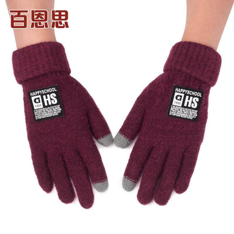 BAIENSI sarung tangan pria musim dingin Penghangat layar sentuh jari lima jari wol sarung tangan musim
