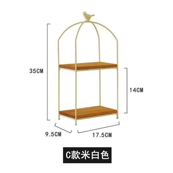 Northern Europe INS Iron Art Cosmetics Storage Rack Desktop Storage Shelf Folding Double Layer Japanese Style Zakka Dresser Desk