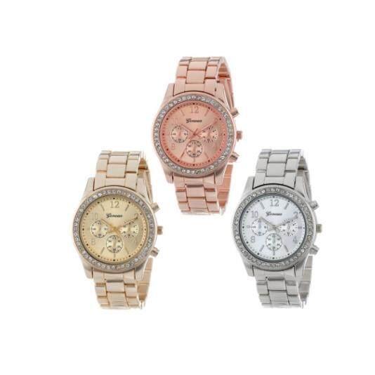 Geneva Womens Watch Steel Belt Fashion Elegant Diamond Quartz Watch - Rose Gold  .