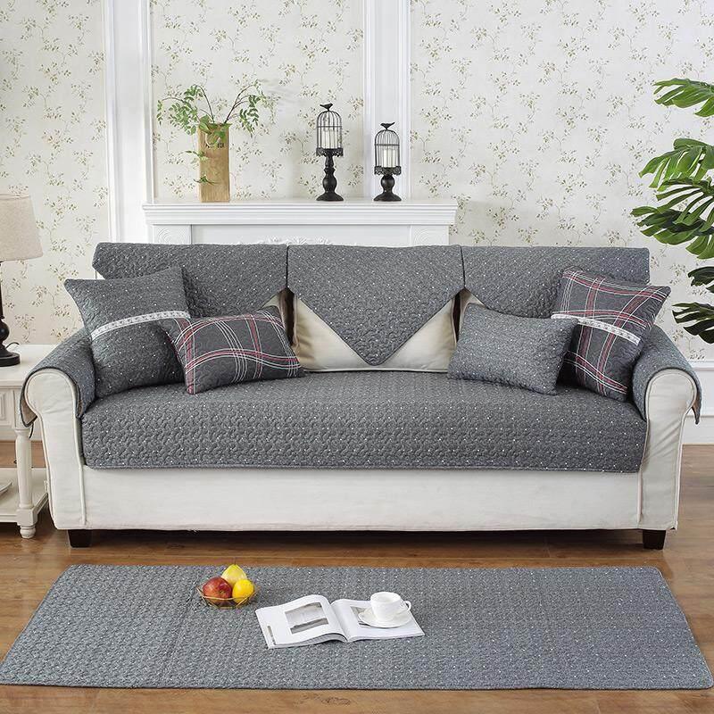 Modern minimalis Kayu Murni sofa kulit Bantalan Kain katun Bisa Dipakai Empat Musim Anti Selip bantal