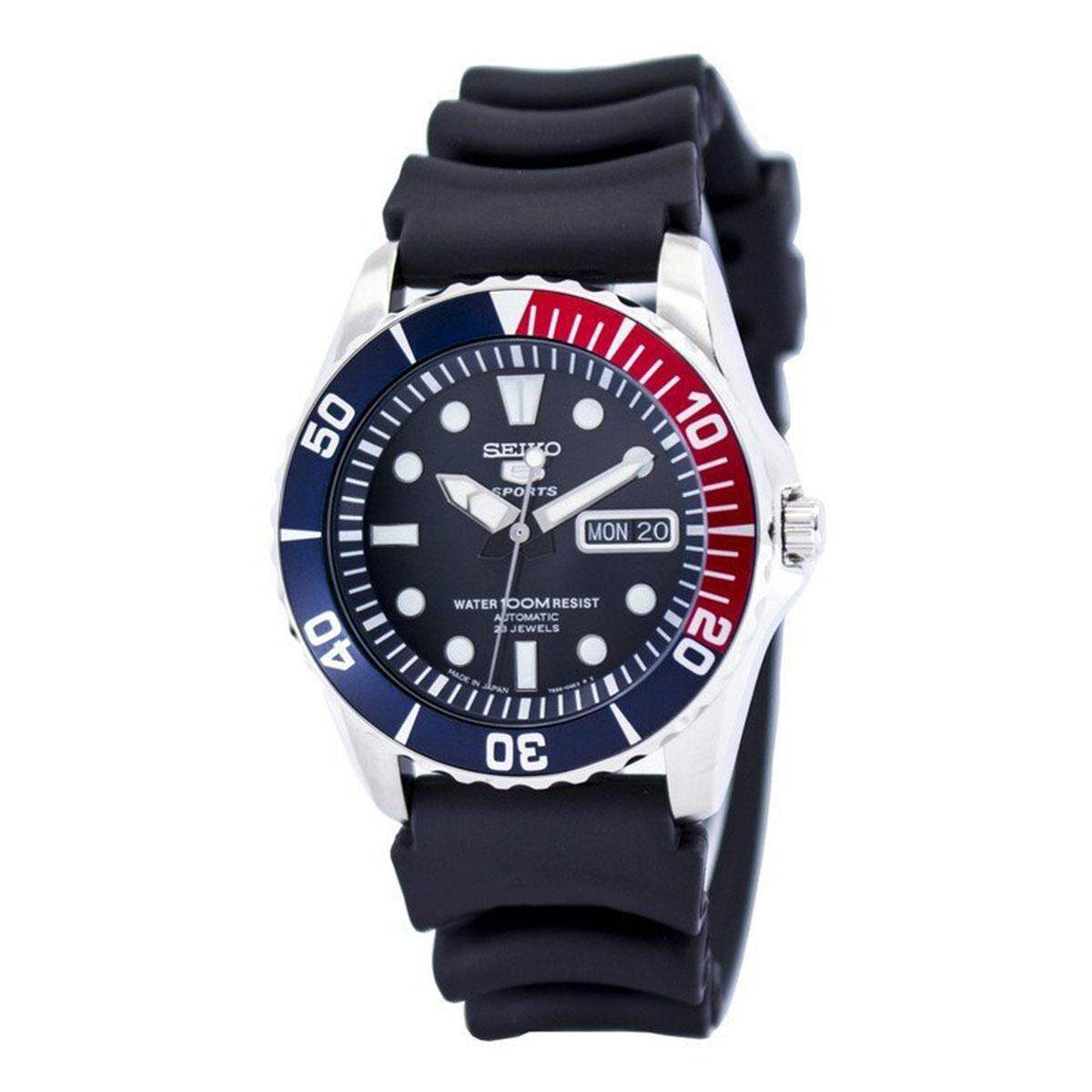 Seiko 5 Sports Black Stainless-Steel Case Rubber Strap Mens JAPAN SNZF15J2