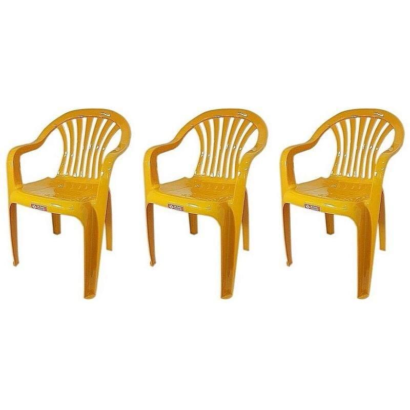 เก้าอี้สนาม มีพนักพิง และ ที่เท้าแขน รุ่น 999 สีเหลือง  แพ็ค3ตัว.