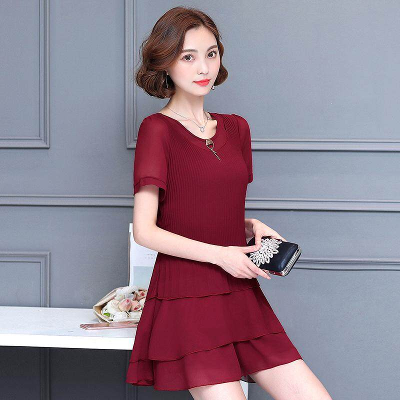 Short Sleeve Loose Chiffon Dress Summer Wear New Style Korean Style Plus-sized  Women s Dress 0e45b2b9c07b