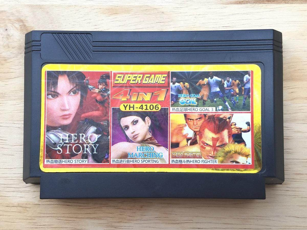 ใหม่ หายาก Famicom 4 In 1 การ์ดเกมย้อนยุค, Nekketsu Soccer League, Volleyball, Fighter, Sports (nintendo, Dendy, Nes) ตลับหมึก 8 บิต.