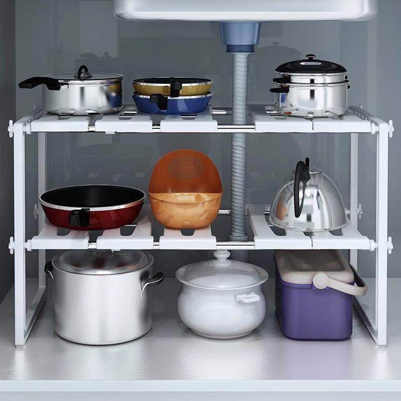 HEINOชั้นวางของใต้ซิงค์ ชั้นวางของใต้ซิ้ง ชั้นวางของ ชั้นวางของในครัว ชั้นวางของในห้องน้ำ ชั้นวางของอเนกประสงค์ ชั้นวางของในตู้ Kitchen Rack Adjustable and expandable under-sink organizer/ under sink shelf/ under sink rack new step as