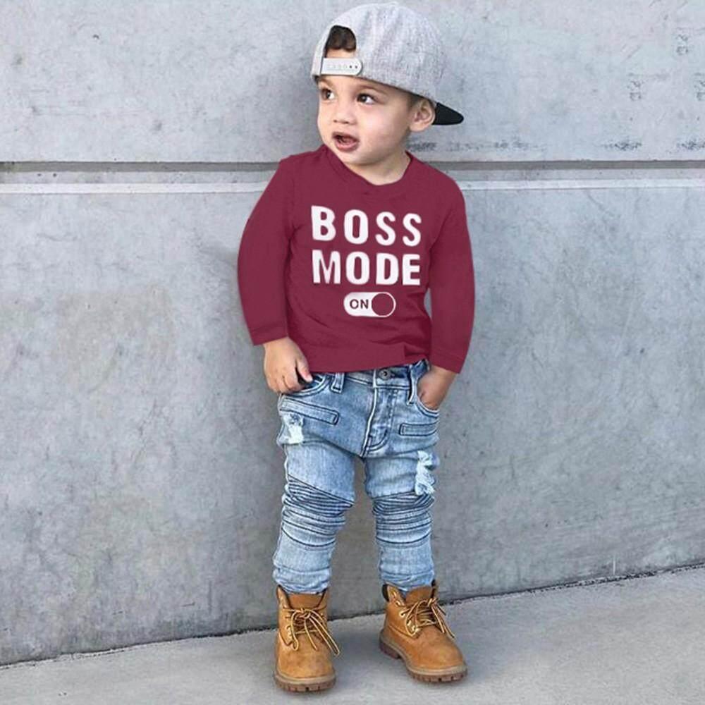 d68eba18be53 Wallerstore Autumn Children Infant Kid Boys Letter Print T-shirt Tops  Shirts Tee Clothes