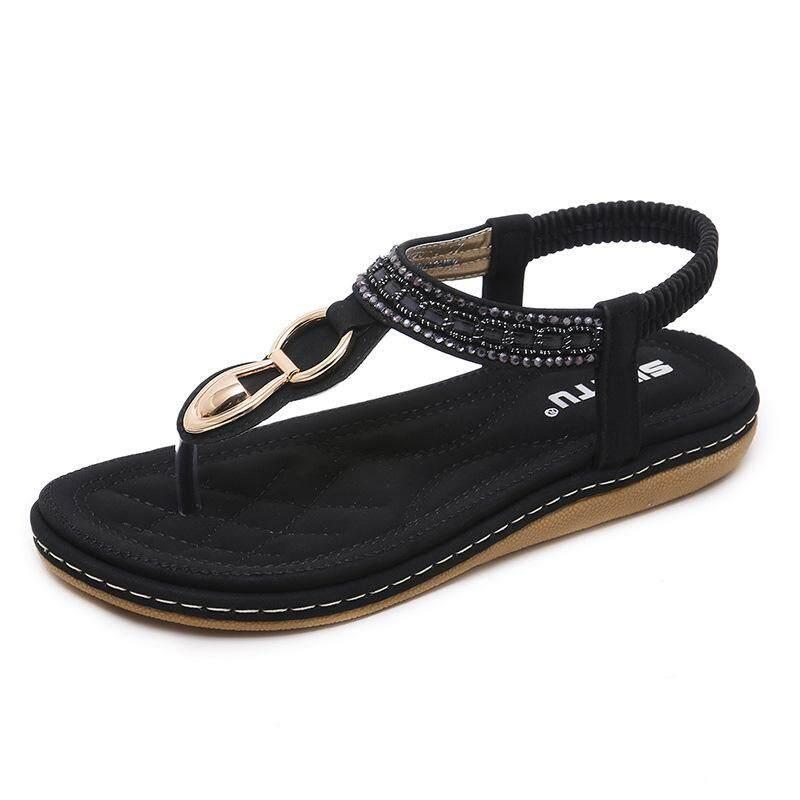 2018 memikirkan versi Korea dari sandal wanita Bohemian berlian imitasi klip kaki datar di luar kode grosir Aprikot