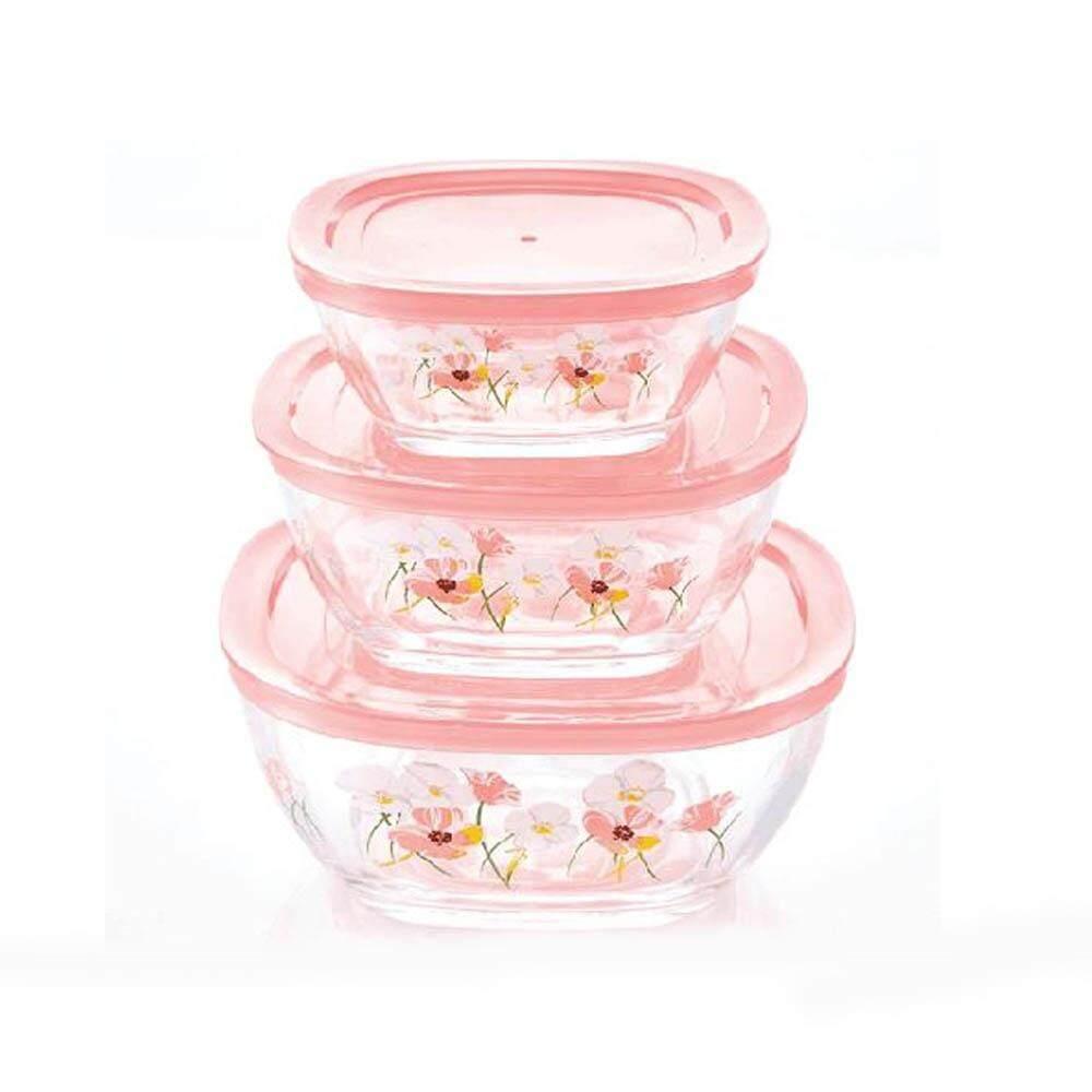 ชุดชามแก้วพร้อมฝาปิด ลายดอกไม้ 3 ใบ/ชุด สีชมพู