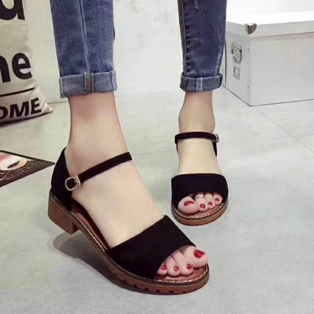 Xinxinyue รองเท้าแตะรัดส้น สูง 3.5 ซม ( สีดำ ).