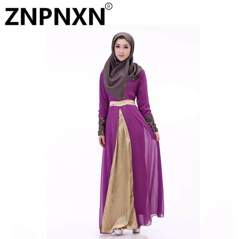 Znpnxn Baju Muslim Gaun dengan Sifon Muslim Jubah-Internasional