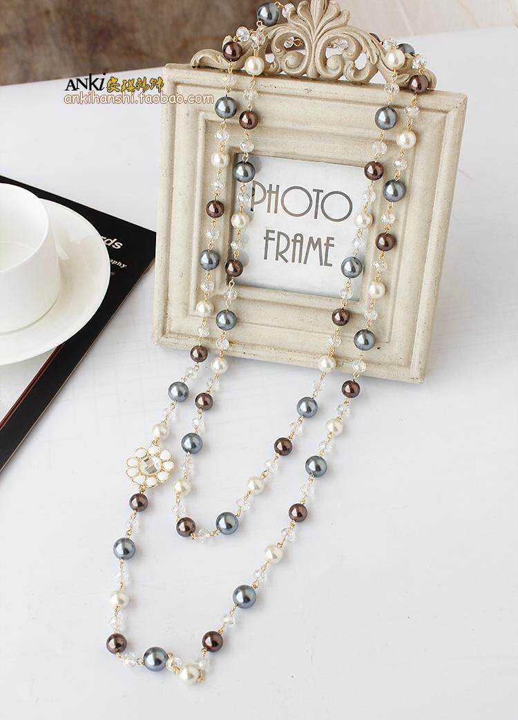Necklace Female Long Korean Style Fashion Pearl Lanyard Europe And America Exaggeration Elegant Dress Versatile Pendant Crystal Sweater Chain.
