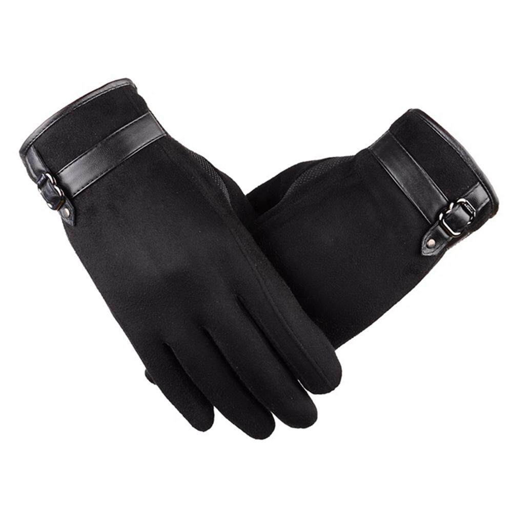 fd00eb2ee3d0e Big Sale Mens New Screentouch Suede Cold Weather Gloves Driving Gloves with  Buckle Decor