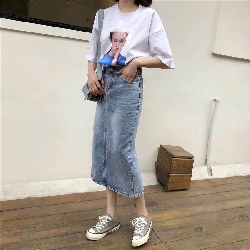Mm Jahitan Garis Garis Vertikal Dicetak Tidak Teratur Rok Gaun Hitam Source · Rok Jeans Korea Fashion Style Baru Rok Setengah Badan Wanita Bagian Panjang
