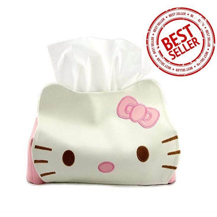 กล่องหนัง ใส่ กระดาษทิชชู่ รูป Hello Kitty (ทำจากหนัง100% นำเข้าจากญี่ปุ่น) คิตตี้ หนัง กล่องใส่กระดาษทิชชู่ กล่องทิชชู่ ในบ้าน ในรถ.