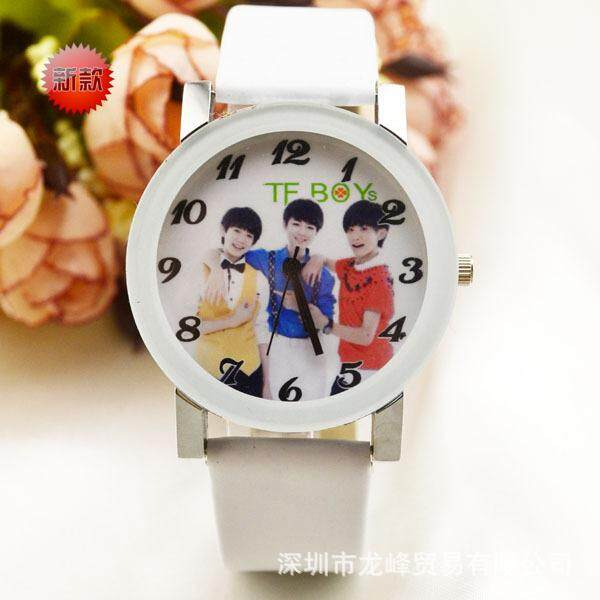 Korean version of fashion tfboys real fashion mens and womens skin strap watches popular watches gift watches wholesale White Malaysia
