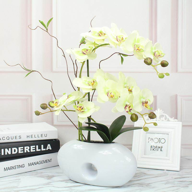 Imitation Flowers Butterfly Orchid Set Living Room Corsage Simple Decoration Artificial Flowers Ceramic Potted Plant 58 Floral Flower Arrangement