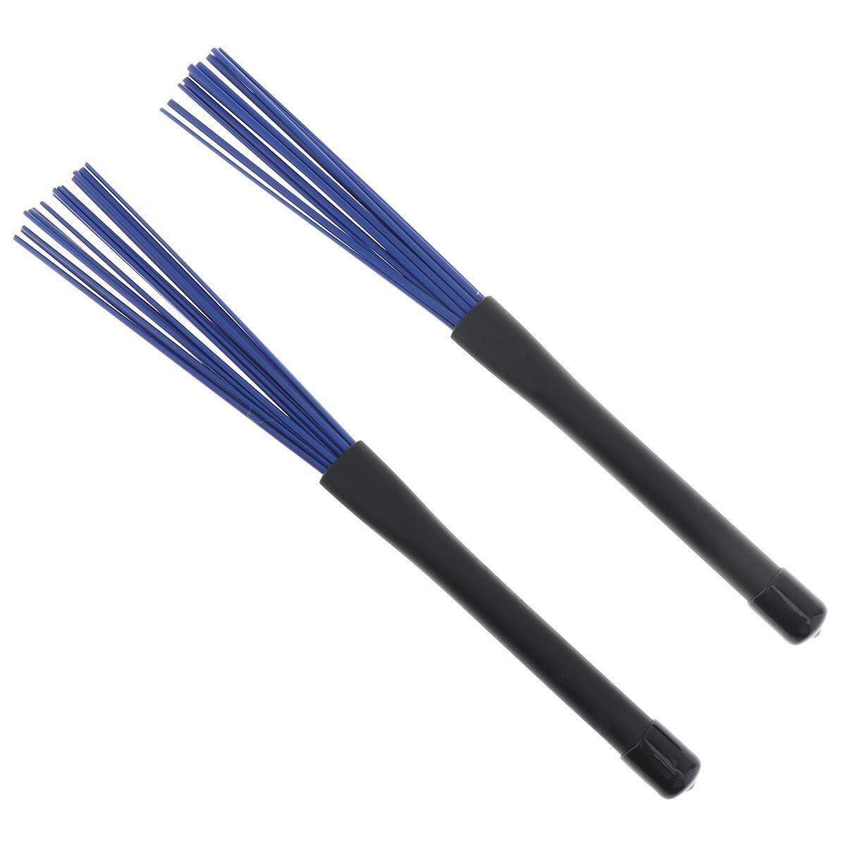 2ชิ้นหดสีดำด้ามแปรงยางไม้กลองแจ๊สสีน้ำเงินผ้าไนลอน.