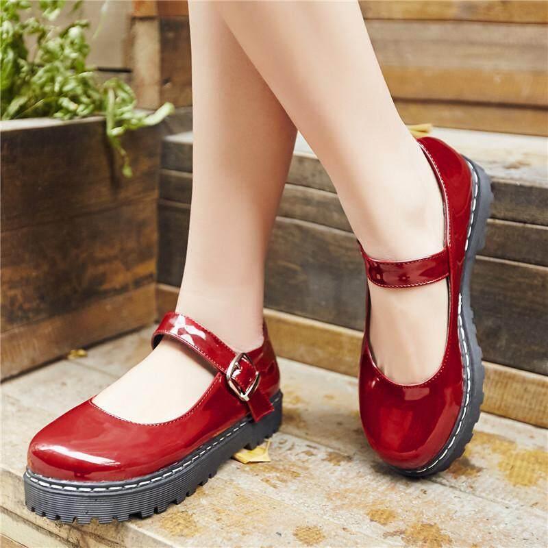fdeba01c9220 ENMAYER 2018 New Fashion Platform Mary Janes Shoes Women s Flat Shoes  Buckle Strap Sweet Lolita Flats