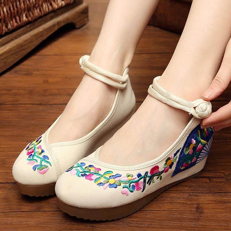 Beijing Oleander Bawah Tendon Sepatu Wanita Sepatu Kain (Kipas Mulut Mengelilingi Dinding Depan Mati-Putih)