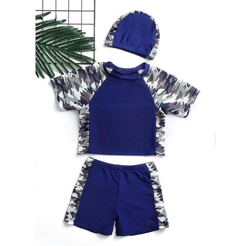 Detail Gambar Ukuran Besar Anak Laki-laki Baju Renang Split Kamuflase Pakaian Renang Tabir Surya Baju Renang-Intl Terbaru