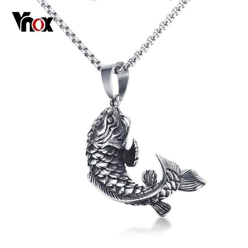 Vnox Cina Ikan Mas Beruntung Ikan Cyprinoid Bentuk Kalung Liontin 24