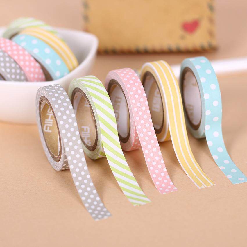 Mua 5PCS/Pack Candy Color Rainbow Striped Dots Washi Tape DIY Decorative Tape Color Paper Adhesive Tapes - intl