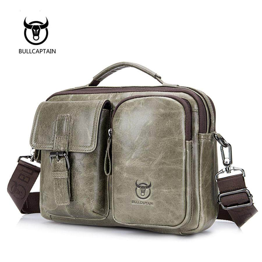 Bullcaptain 036 Melintang Kulit Asli Pria Briefcase-Internasional