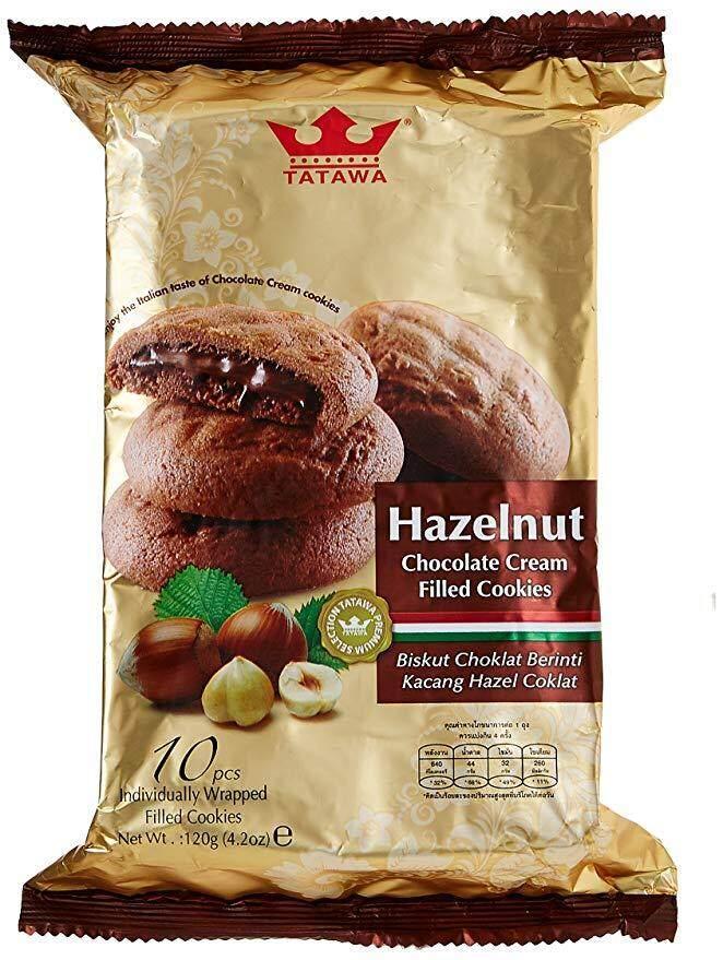 TATAWA Hazelnut Chocolate Cream Filled Cookies  คุกกี้สอดไส้ครีมช็อกโกแลต ฮาเซลนัท 1 ซองมี 10 ชิ้น 120g