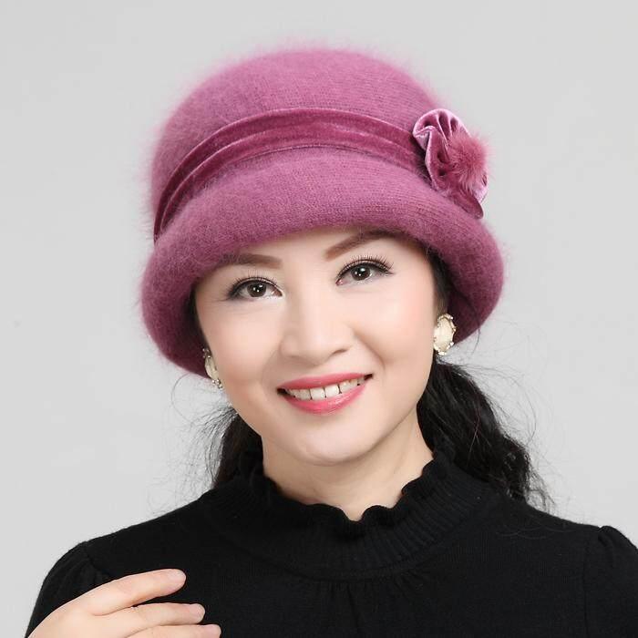 Musim gugur musim dingin orang tua dan berusia setengah baya topi wanita Bulu kelinci topi wol rajut nenek orang tua topi musim dingin setangah baya Ibu Topi Selendang
