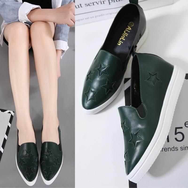 Happy Sepatu Santai Wanita Meningkat Di Dalam Tipe Gao Yang Sepatu Kasual Baru Gaya Tebal Bawah SHARP End Baba tumit Pemalas Sepatu 100 Mengambil Dasar Lembut Siswa Sepatu 3 Dolar-Intl