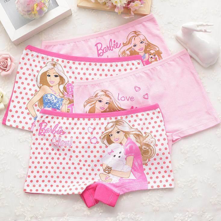 กางเกงในเด็กผู้หญิง กางเกงในขาสั้น กางเกงขาสั้น ลาย ฺbarbie  (แพ็ค 4 ตัวคละสี).