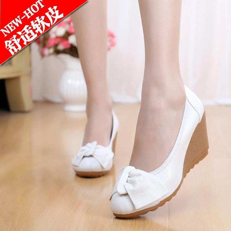 Sepatu Kulit Putih Musim Semi dan Musim Panas Sepatu Heels Wanita (Kasa Merah Model) - 2