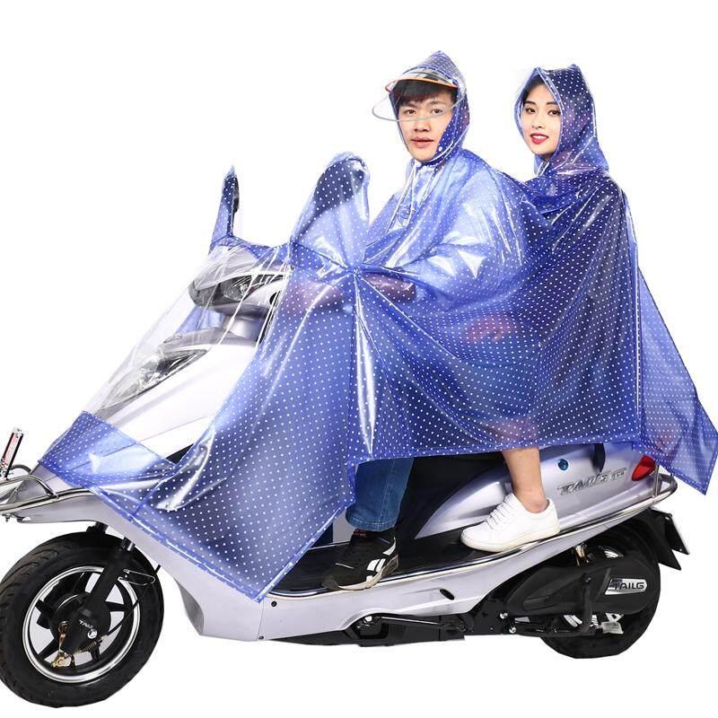 Tianhong Dua Orang Jas hujan wanita motor listrik ibu dan anak motor listrik Jas hujan topi besar Sepeda Listrik sepeda motor transparan Dewasa