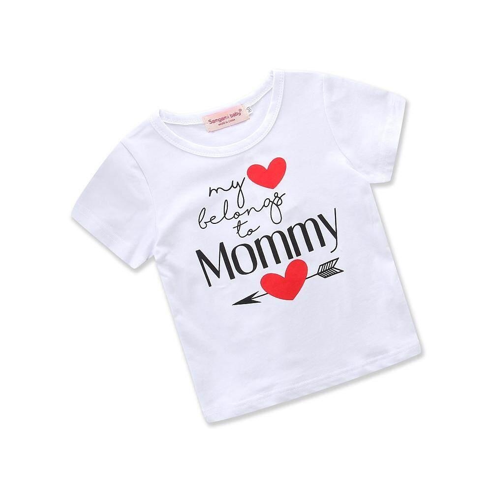 Bayi Harian Pakaian Musim Panas Katun Putih Merah Hati Bayi Perempuan Lucu Kaus Kaus Anak Pakaian