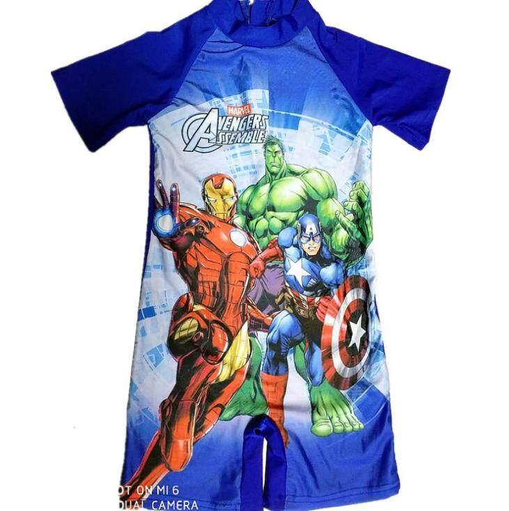 ชุดว่ายน้ำ ชุดว่ายน้ำเด็ก ชุดว่ายน้ำเด็กผู้ชาย ชุดว่ายน้ำ 1 ชิ้น Swimming Suit ลายการ์ตูน The Avengers.
