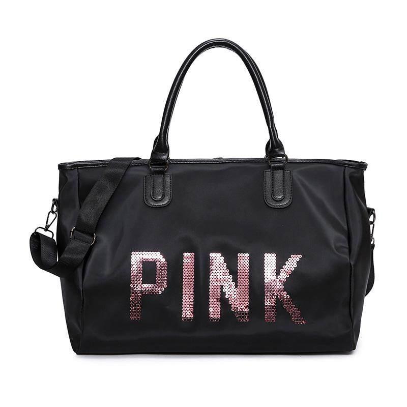 9d616a66164 Waterproof Pink Sequin Gym Bag Short Trip Travel Bag Women s Handbag Sports Bag  Large Capacity Fashion
