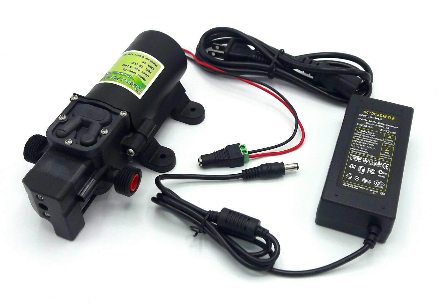 ปั๊มน้ำ ปั๊มพ่นยา Dc12v Green-03แรงดัน 8 บาร์ แบบเกลียวนอก 1/2 + Adapter 12vdc 5a 5.5 Mm. X 2.5 Mm. รุ่น Yu1205 + แจ็ค Dc ( ตัวเมีย ).