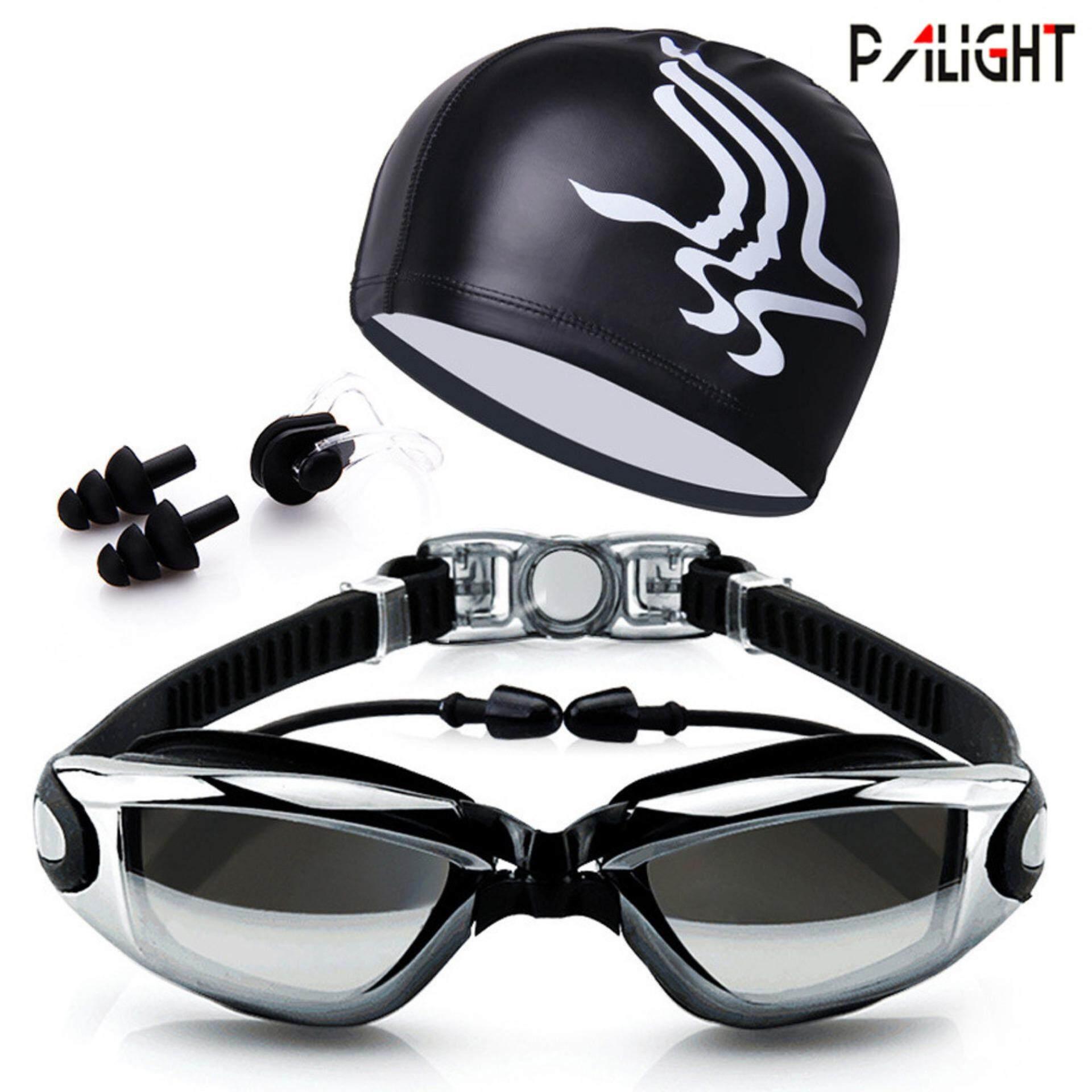 Palight แว่นตาว่ายน้ำผู้ใหญ่ชุดเคลือบเลนส์ป้องกันหมอกแว่นตาว่ายน้ำ + หมวก + + คลิปหนีบจมูก + ปลั๊กอุดหู - Intl