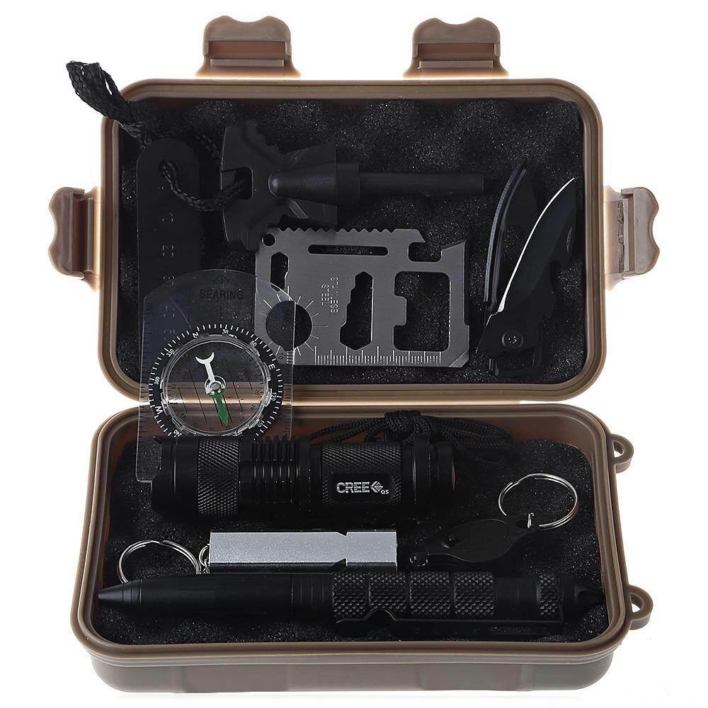 Bút chiến thuật/Flintstone/Đèn Pin Mini/Sáng//Móc Khóa Huýt Sáo/La Bàn/Đa sử dụng Thẻ Dụng Cụ Sinh Tồn Bộ Đất