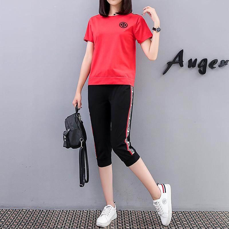 Musim panas Baju olahraga Set perempuan 2018 model baru Versi Santai Korea longgar Musim panas lengan