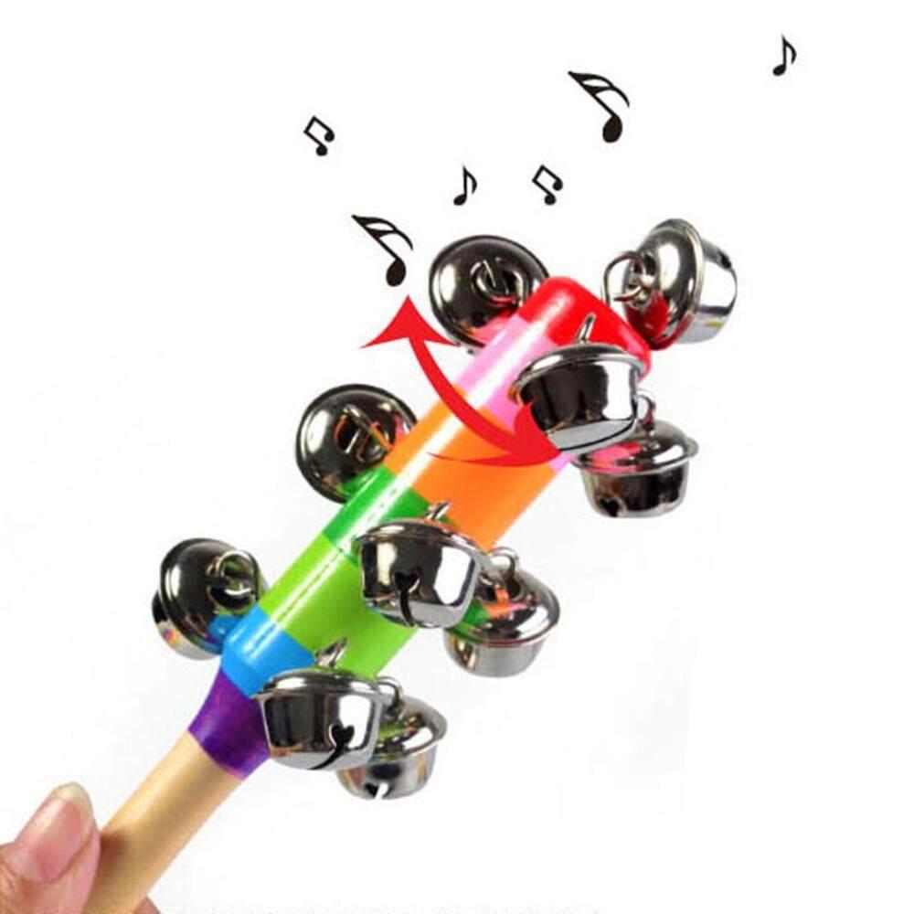 Topmissdeng 1 Pcs Lucu Tongkat Kayu Pelangi Berjabat Tangan Kerincingan Lonceng Bayi Jingle Bells Bayi Bunyi Gemerincing Pengocok Cincin Mainan Pendidikan DS29