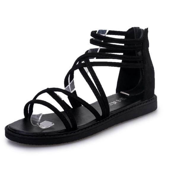 รองเท้า รองเท้าลำลอง รองเท้าแฟชั่น รองเท้าสวย รองเท้าราคาถูก  รองเท้าเตะ Casualshoes  รองเท้าเตะลำลองสานพื้นหนา 2 ซม.(สีดำ).