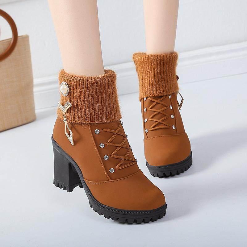Rp 257.700. Musim gugur musim dingin Sepatu Boots Boots Martin 2018 trendi model  modis Pendek batu kristal air Harajuku model bulat tumit tinggi Hak ... 5e75698fea