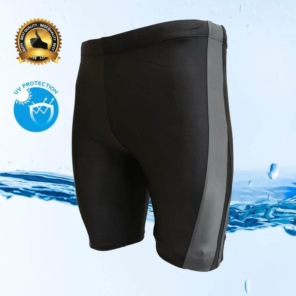 กางเกงว่ายน้ำชาย ขา 3 ส่วน สีดำมีแถบสีเทา เชือกรูดด้านใน สวมใส่กระชับ Size L, Xl, Xxl,xxxl รุ่น M301.