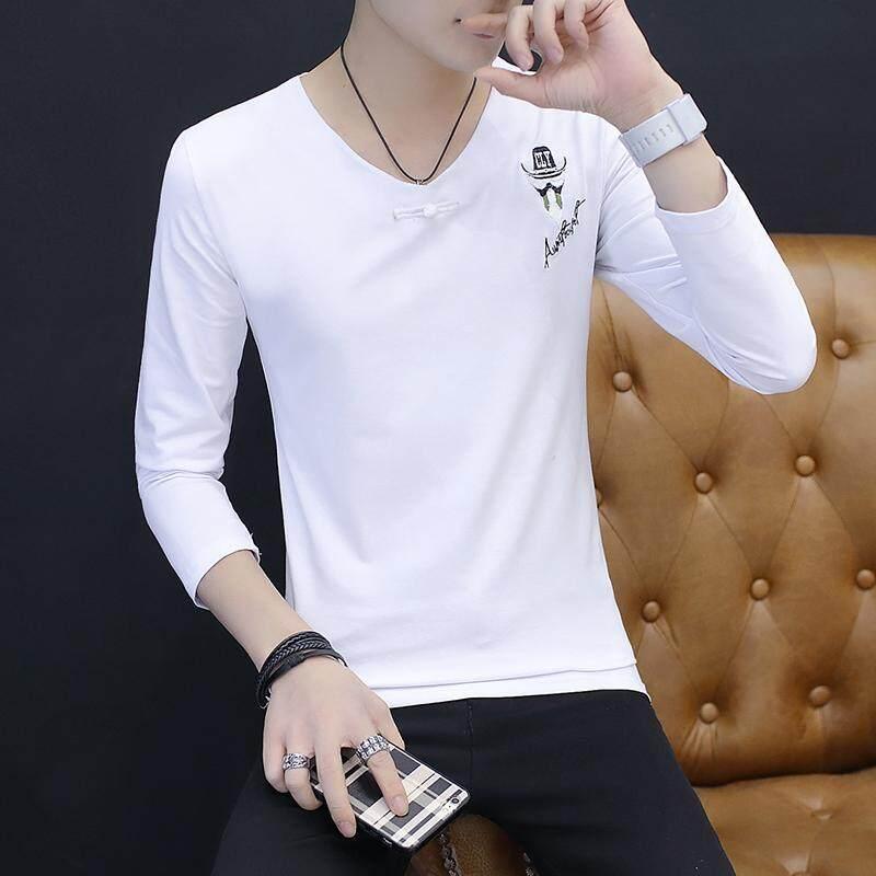 T-shirt lengan panjang pria 2018 musim gugur model baru Kerah V Lengan Pendek Baju Dalaman pakaian pria Tren Kaos Gaya Korea membentuk tubuh pakaian - 3