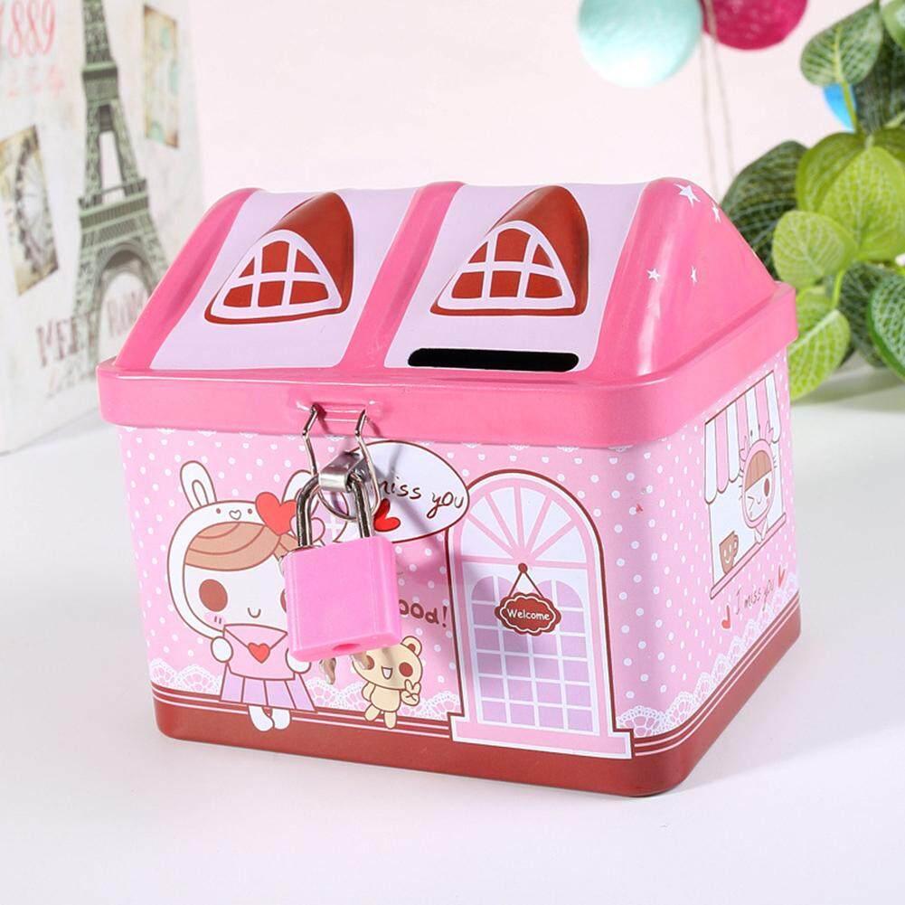 Happy-Kartun Rumah Besi Celengan Babi Imut Penyimpanan Uang Kotak Seng Kreatif Pot Koin Hadiah Untuk Anak-Anak Gaya: Berwarna Merah Muda By Hhhappy Store.
