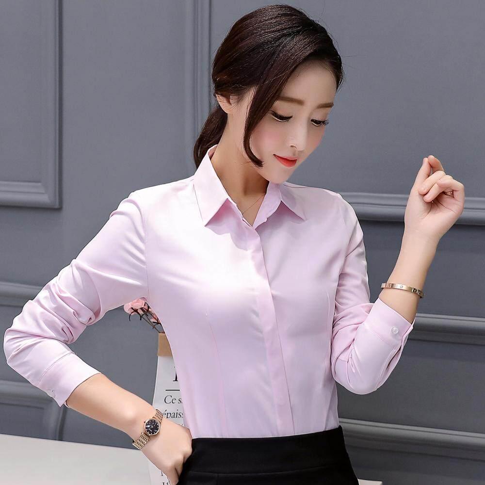 Blus wanita kerah persegi putih bawahan murid Kemeja katun Lengan panjang Profesi cocok Sederhana dan Elegan Gaya Kampus bekerja wawancara