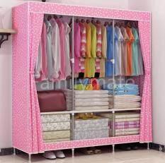 Familymate 2018 New ตู้เสื้อผ้า 3 บล็อก แขวนเสื้อได้ 3 ช่อง มีซิป เปิดข้าง อุปกรณ์จัดเก็บเสื้อผ้า ขนาด 167*129*45cm