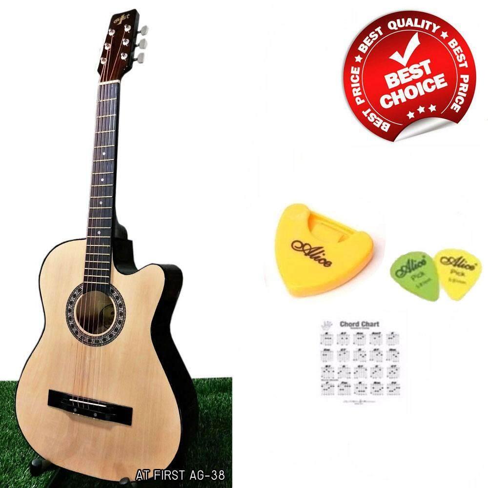 โปรโมชั่น At First กีตาร์โปร่ง Acoustic Guitar 38 รุ่น Ag 38N ลูกบิดเหล็กโครเมี่ยม ที่เก็บปิ๊ก ปิ๊กกีตาร์ 2 อัน ตารางคอร์ด