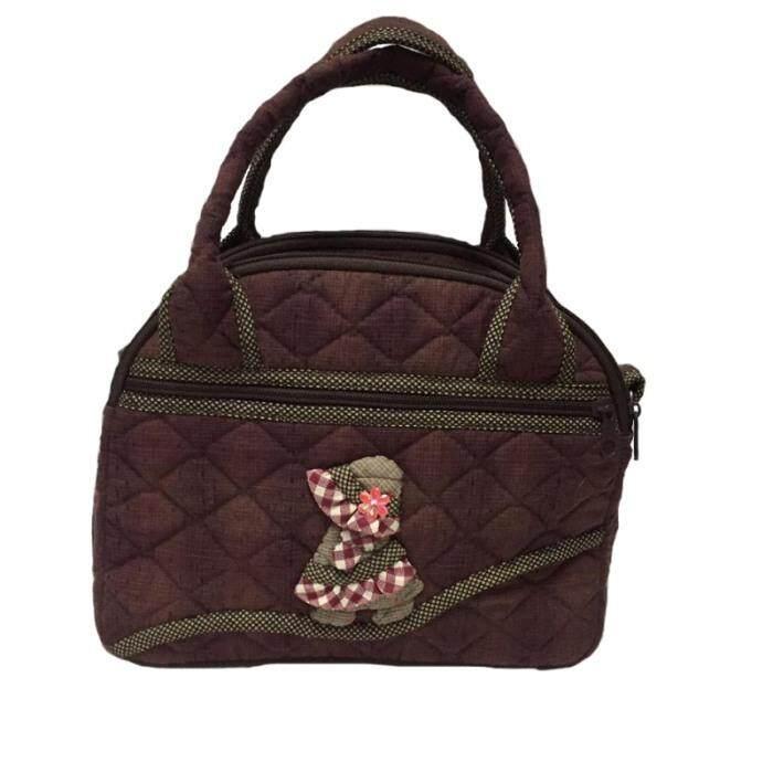 ขาย กระเป๋าถือ มีสายสะพาย ผ้าทอญี่ปุ่นสีน้ำตาลแดง ปักมาดามซู ถูก ไทย